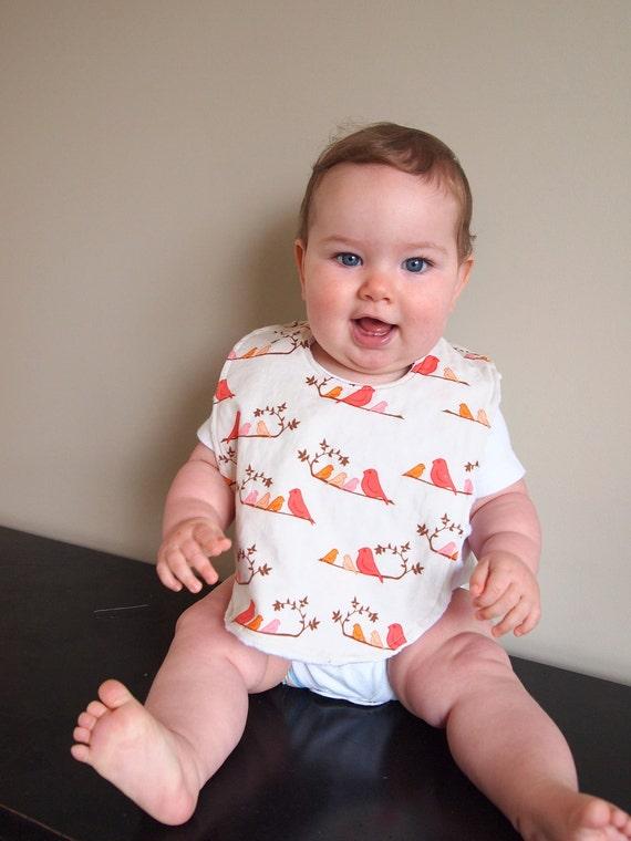 baby bib birds mandarin pink coral orange minky cotton infant newborn drooler