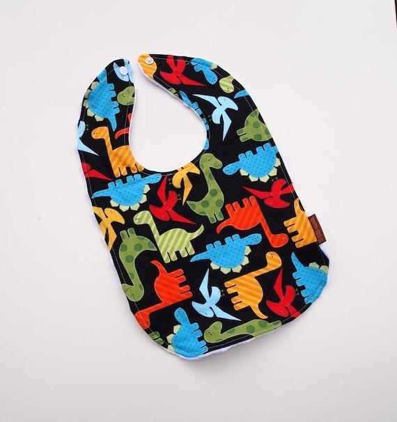 Dinosaur Baby bib boys minky anne kelle cotton black colorful snap