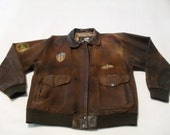 Reserved for Astrid - Vintage Aviator Leather Jacket Brown TIGER FOX Brand
