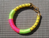 Bungee Cord Bracelet Bangle with Neon Details and Gold Plated Findings