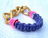Friendship Bling Bracelet with Stretch Purple Cord and Chunky Gold Chain