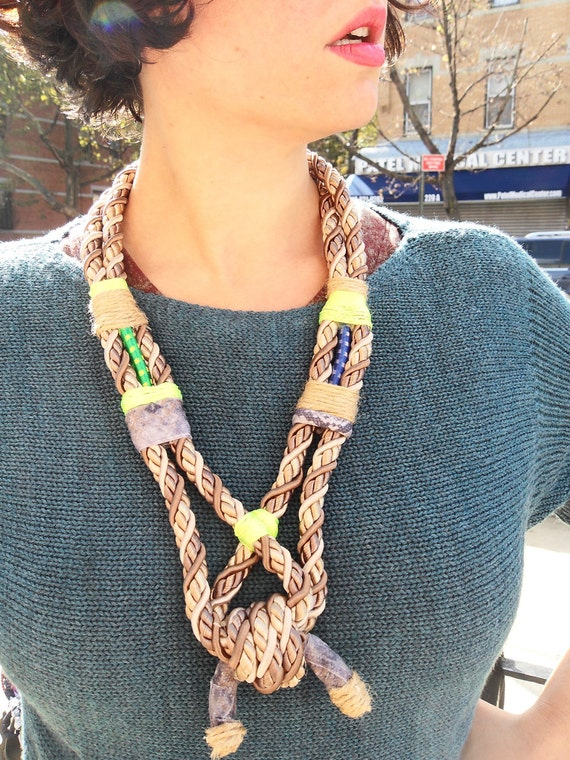 Twisted Rope Knotted Necklace with Bungee Cord and Neon Twine, OOAK