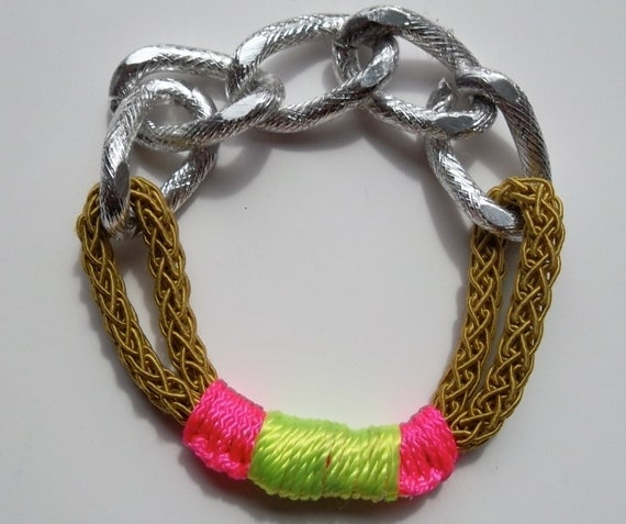 Silver Bling Bracelet Cuff with Chunky Chain, Crochet Ochre Rope, hot pink and neon yellow accents