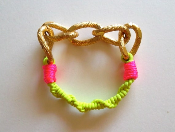 Friendship Bracelet with Neon Yellow Elastic, Hot Pink Rope and Chunky Bling Gold Chain