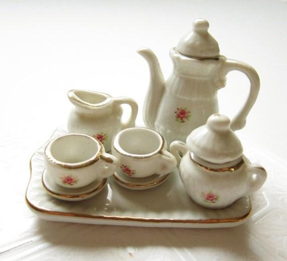 Vintage Porcelain Miniature Tea Set - White with Pink Roses, Gold Trim