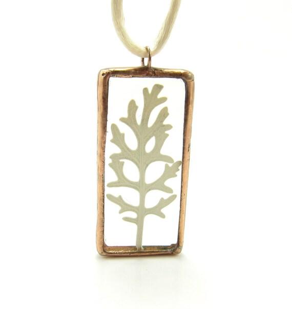 Botanical Necklace Leaf in Soldered Glass Copper Pendant White Dusty Miller Pressed leaf