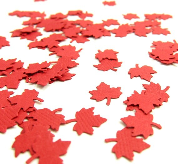 Maple Leaf Confetti Red Leaves Paper Punches Die Cuts for Autumn Party, Wedding, Canada Day