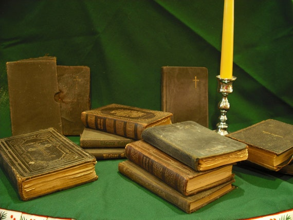 Antique EMBOSSED GERMAN Evangelical LUTHERAN Church Religious Books, Large Group of Eleven