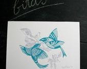 Blue Love Birds Print