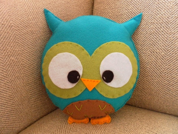 Large Plush Turquoise Owl Toy/Pillow