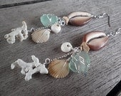 Cowrie shell dangle earrings with Hawaiian shells, beach glass, and coral cluster