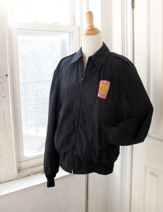 JROTC Black Navy / US Army Jacket Windbreaker by GetInVintage
