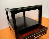 Custom Listing Amber/ VINTAGE Black Lacquer and Mirror End Table