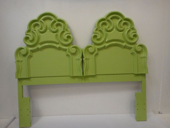 Custom listing Cece SOLD Hollywood Regency Green Lacquer Headboard