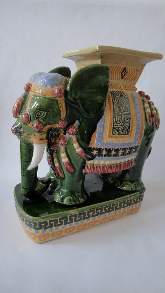 Vintage Elephant Chinoiserie Table Garden Stool
