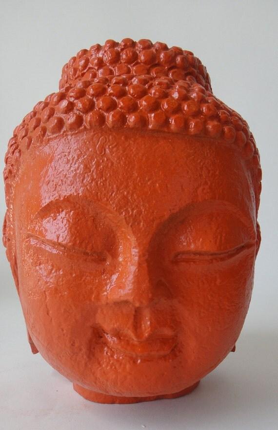 Hermes Orange Buddha Statue/Bust HOLLYWOOD REGENCY Asian Decor