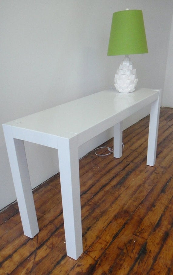 White Gloss Parsons Console Sofa Table Vintage