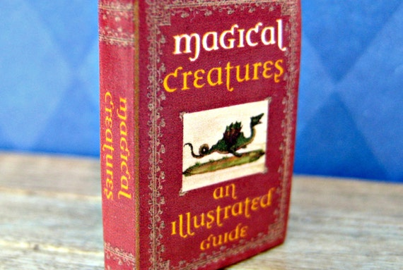 """Miniature Book """"Magical Creatures: An Illustrated Guide"""" in 1/12 inch dollhouse miniature scale"""