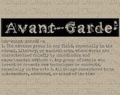 Grunge AVANT GARDE Art Definition Words Vintage Typewriter Wall Art Digital Download for Iron on Transfer Fabric Pillow Tea Towel DT823