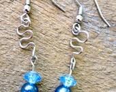 RESERVED FOR - Sinnybear - Ocean Blue Silver Squiggle Earrings