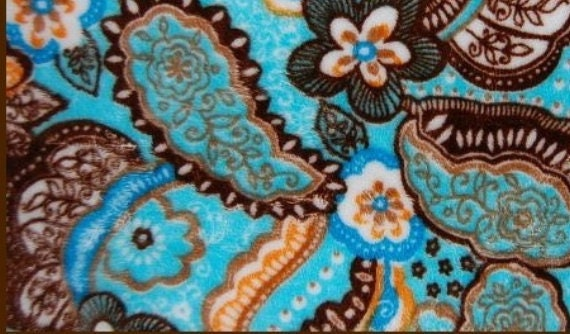 SALE Minky Fabric Paisley Floral Turquoise Brown 5 yards