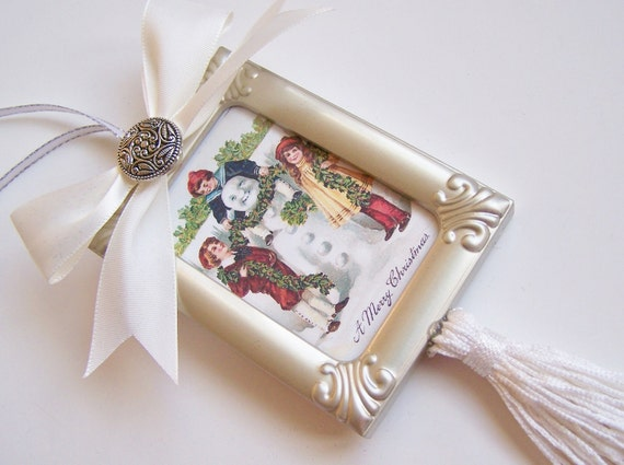 """Victorian Christmas Ornament Holiday Ornament Handmade Vintage Inspired """"Victorian Children with Snowman"""""""
