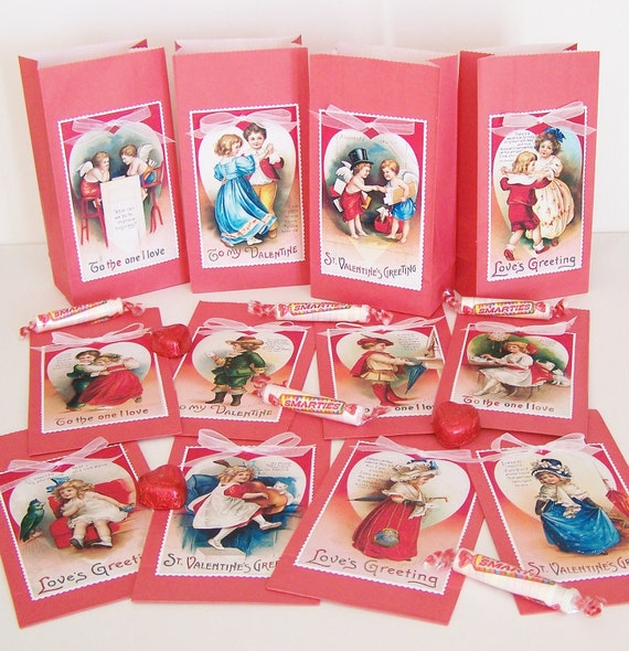 Valentine Treat Bags Favor Bags Red Shabby Victorian Vintage-Inspired Handmade Table Decoration Party supply RED SET