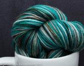 Shades of Sage Pecan Aqua 100% Superwash Merino Sock Yarn Moriarty