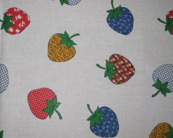 Vintage 60s Strawberry Fields Forever Novelty Print Cotton Fabric Remnant