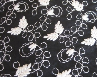 Vintage 50s Fabric Black & White Embroidered Fancy Cotton Dress Fabric Remnant 5 Yards