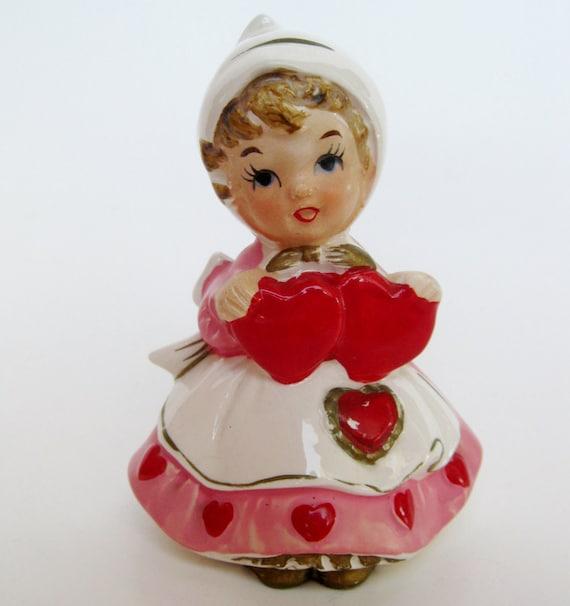 Vintage 50s Lefton Valentine's Day Queen of Hearts Ceramic Figurine