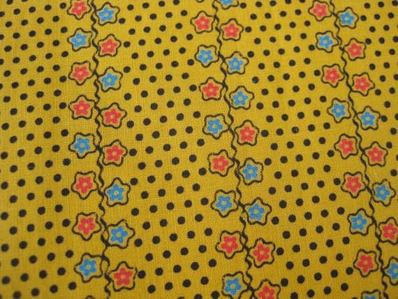 Vintage 30s 40s Gold Polka Dots & Stars Novelty Print Cotton Fabric Remnant Over 1 Yard