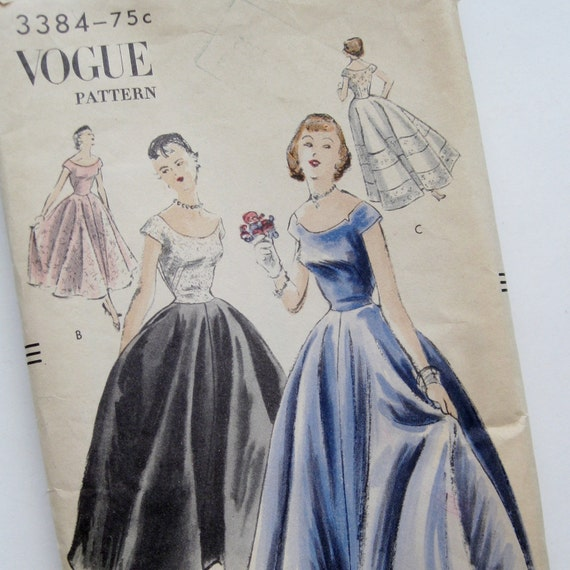 Vintage 50s VOGUE 3384 Full Skirt Debutante Formal Dress Evening Gown Sewing Pattern