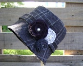 Girls Hampton or Bucket Hat Vintage style in Grey Wool Plaid with Felt flowers and pearl beads - 12m-2T