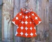 Ruffled Collar Girl's Dress - Orange Circles on White - Size 12-18m