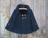 Boy's Winter Jacket Coat in Charcoal Grey and White Pinstripe with wooden buttons - Size 12m-5T