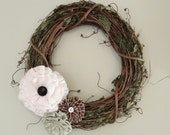 Shabby Chic Grapevine Wreaths with Fabric Flowers-12