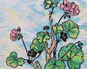 Geraniums - Hand colored block print of the world's favorite flowerpot blossom