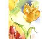 Sound of Sunshine - Full Sized Print of brilliant flowers in colorful red, gold and green