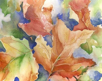 Autumn Leaves Hold Summer Rainbows - Original watercolor colorful fall foliage