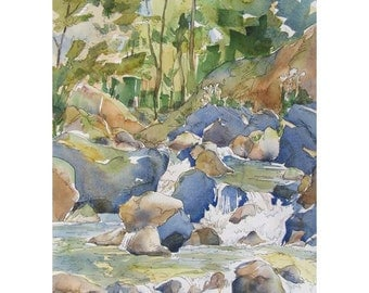 Love Flows Like a Mountain Stream - original painting of shady colorful creek watercolor