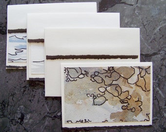 Rock and Water - Three small original paintings presented as greeting cards