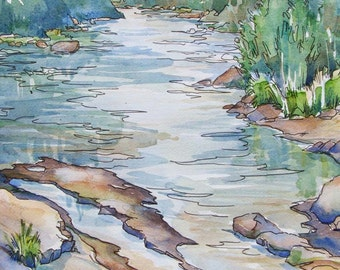 River Dusk - original watercolor of peaceful mountain river in the evening