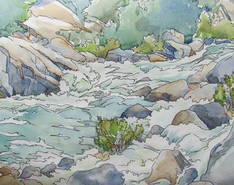 Source Energy The Rapids - Original watercolor of whitewater wilderness river