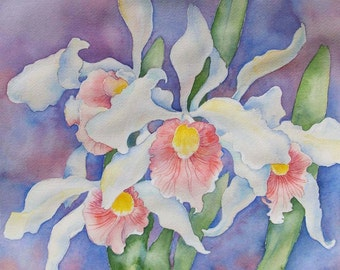 The Final Deduction - original orchid watercolor in pink, lavender, ivory, purple