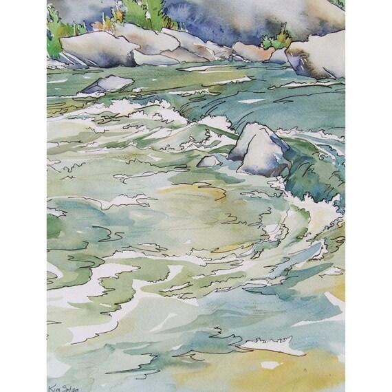 Items similar to cool waters original watercolor for Cool watercolour