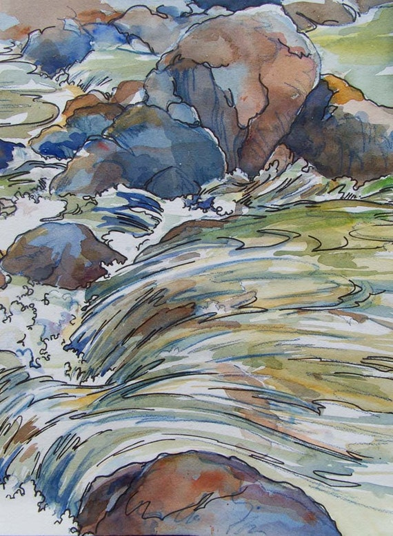 Song of the Water - Small Giclee Print of multicolor swirling waterfall cascade over granite river boulders