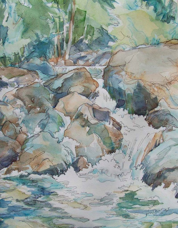 Turquoise Cascade - luxury giclee print of watercolor in rust, blue, grey
