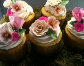 Edible Wedding flower set for cakes or cupcakes