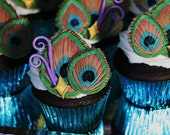 Edible Peacock Wedding Feathers Cupcake Toppers